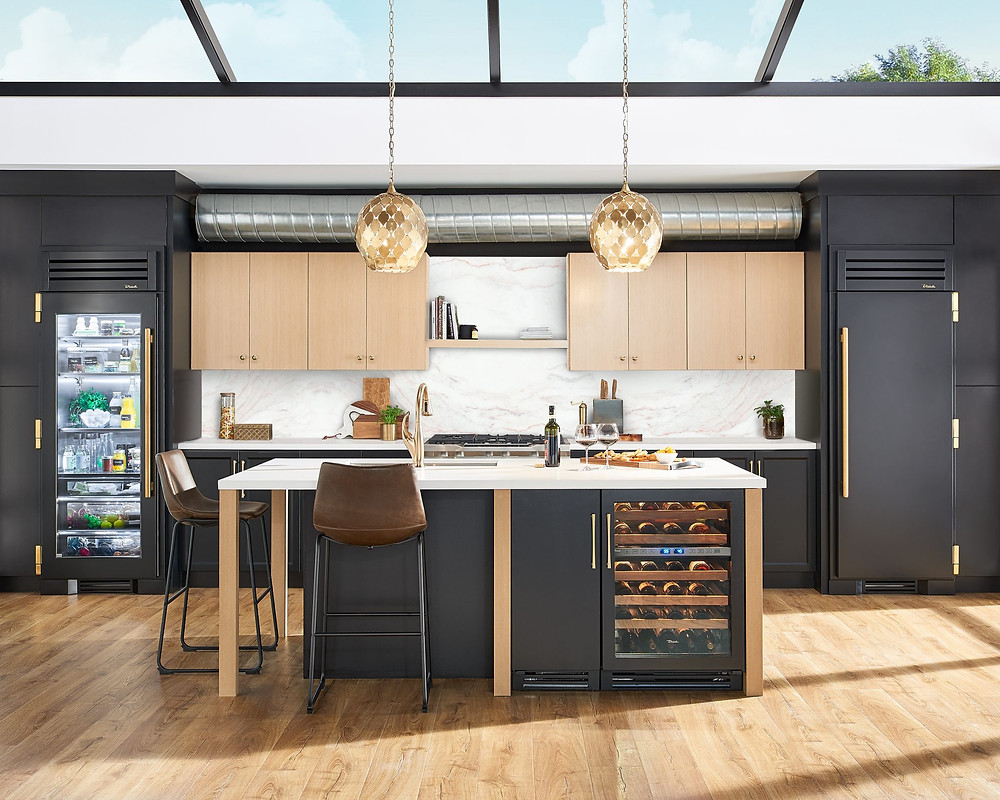 True Appliance kitchen with gray and gold metal elements