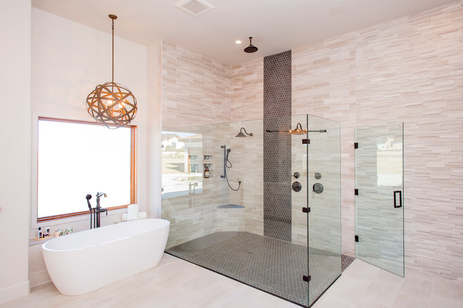 Marble Master Bathroom Waterfall Tile Wall Curbless