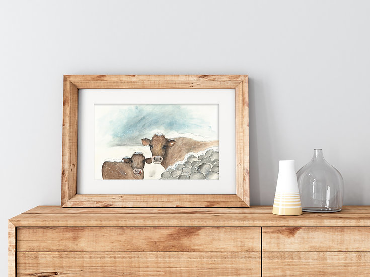 'Snowy Cows' Fine Art Print