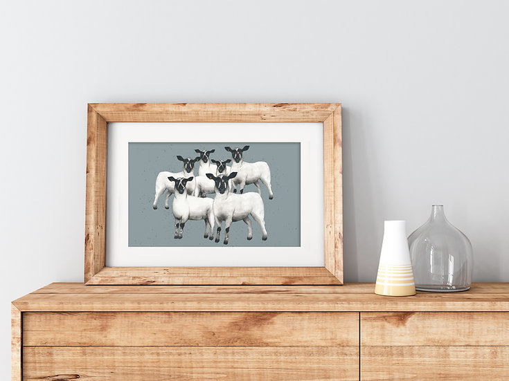 'Speckled Face Lambs' Fine Art Print