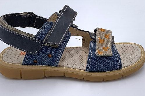 Sultanino sandali bambino pelle e tela jeans chiusura 2 velcri Made in Italy
