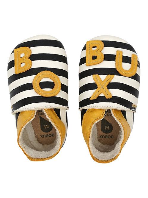 Bobux soft sole Righe blu giallo