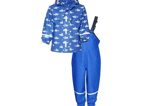 Completo da pioggia giacca + pantaloni bretelle avio