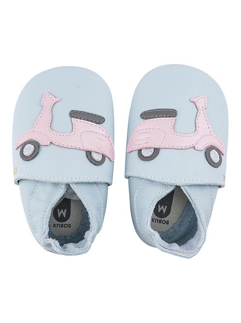 Bobux soft sole Scooter azzurro/rosa