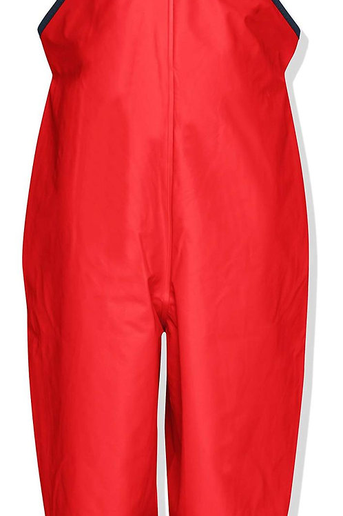 Pantaloni da pioggia con bretelle rossi