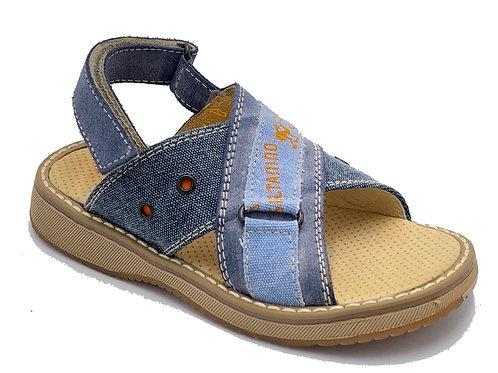 Sultanino sandali bambino pelle tela jeans velcro posteriore con difetto
