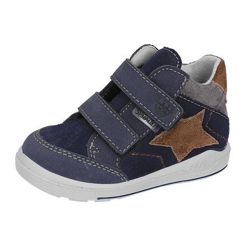 Pepino Kimi blu marrone scarpe sportive pelle impermeabili velcro