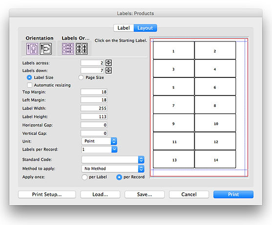 label editor layout page