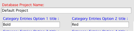 Database project category entries options