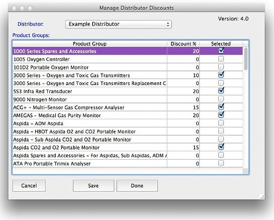 Distributor discounts module