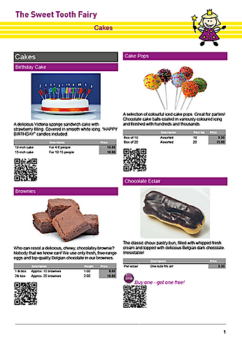 Sweet Tooth Fairy example catalogue page