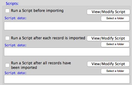 Scripts for importing data