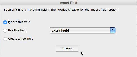 Import no matching field