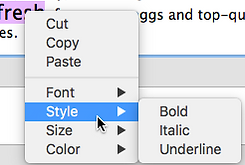 text styling options