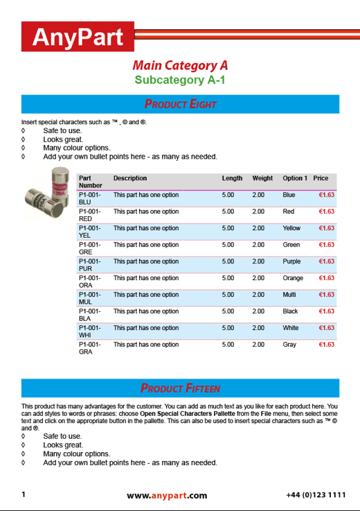 Parts Catalog example page