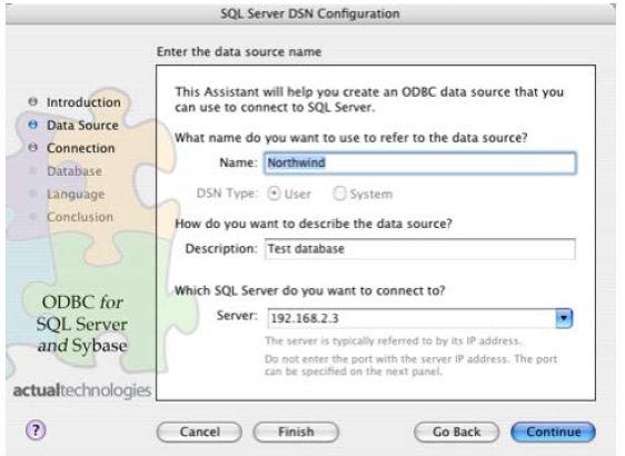 Sql Server DSN configuration