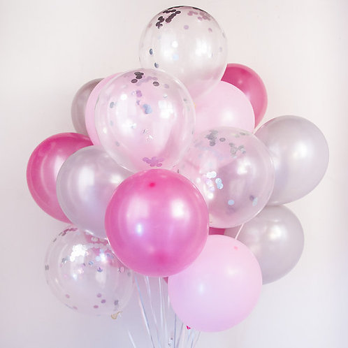Bouquet(20Balloons)Pink & Silver Confetti Balloon Helium filled