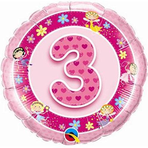 Qualatex Balloons Age 3 Pink/blue Fairies 45cm