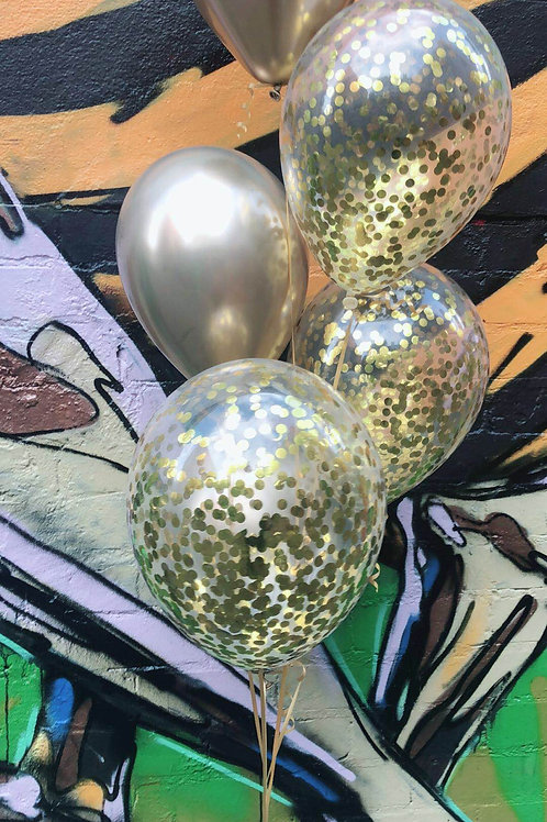 Chrome and Gold Confetti Bqt of 6