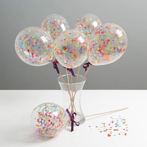 Set Of Six Rainbow Mini Balloon Wands(air filled)