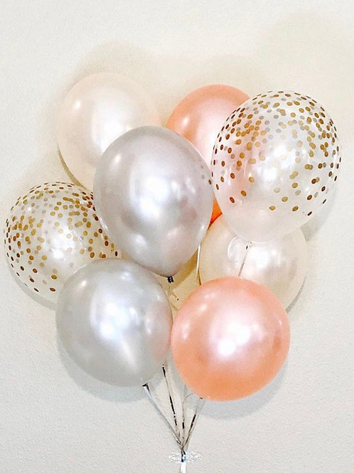 Bouquet of 8 Rose Gold Chrome sliver& gold confetti (helium filled)