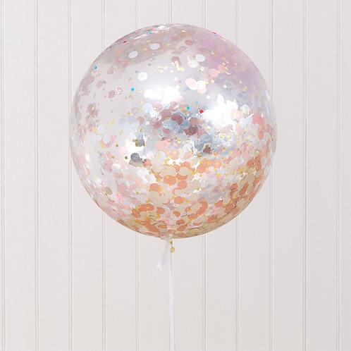 Jumbo Confetti Balloon Metallic Rose&Sliver