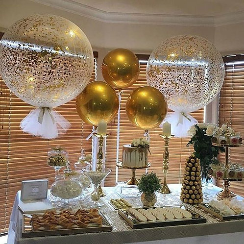 Gold Tule Megalloon Party Decoration Package