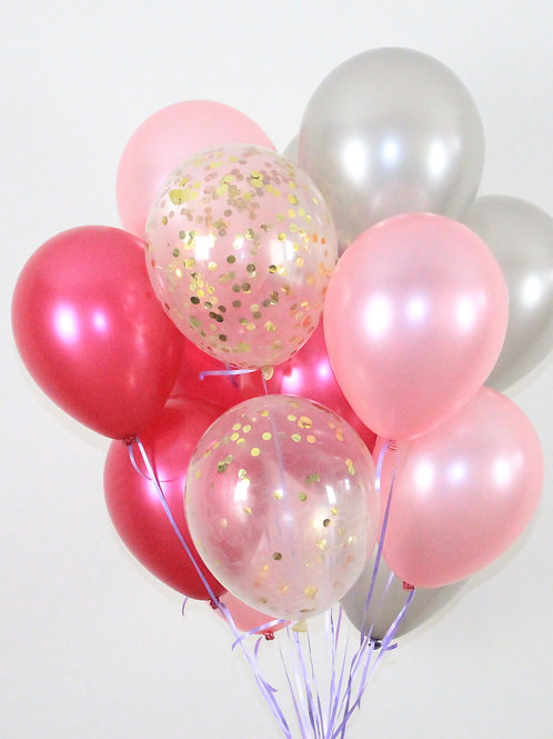 Bouquet(20Balloons)Cute Pink Confetti Balloon Helium filled