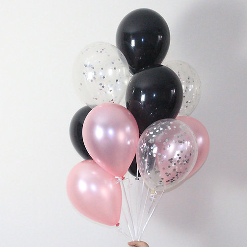 Bouquet(14Balloons)Pink & Black Confetti Balloon Helium filled