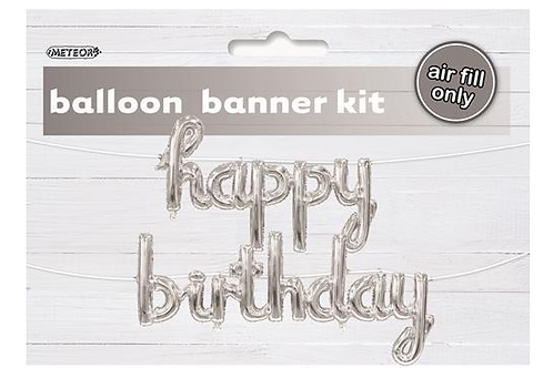 Silver Foil 'Happy Birthday' banner (Air inflated)