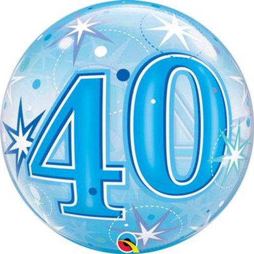 40 Blue/Pink Starburst Sparkle Bubble 55cm