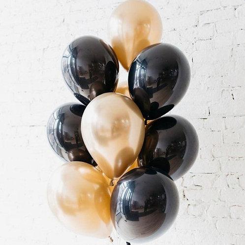 Chrome Gold & Black Bouquet of 10