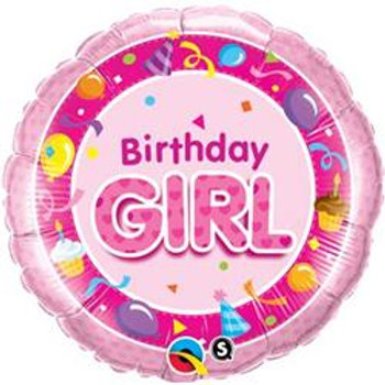 Qualatex Balloons Birthday Girl Pink 45cm