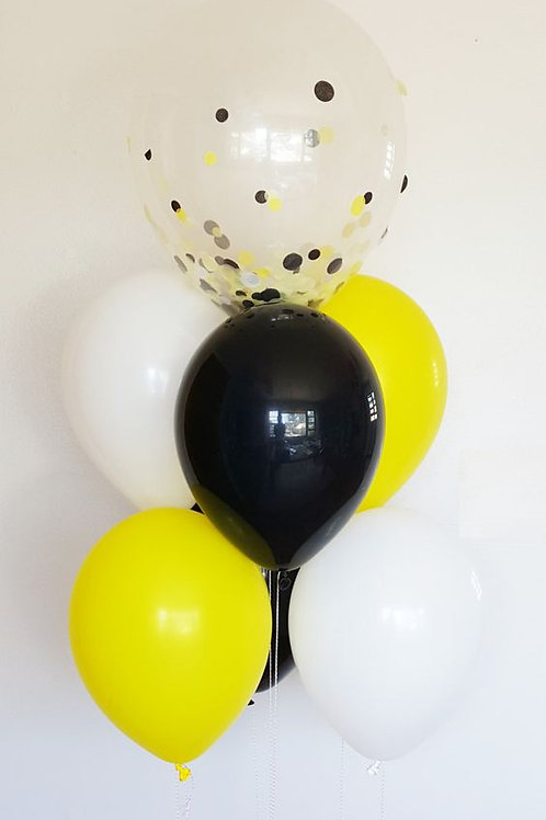Bouquet of 7 Balloon Black&Yellow Confetti (Helium Filled)