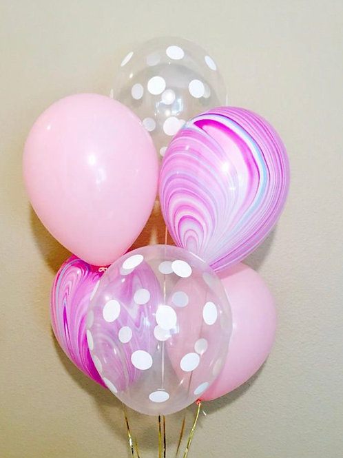 Pink Marble Balloon Bouquet of 6