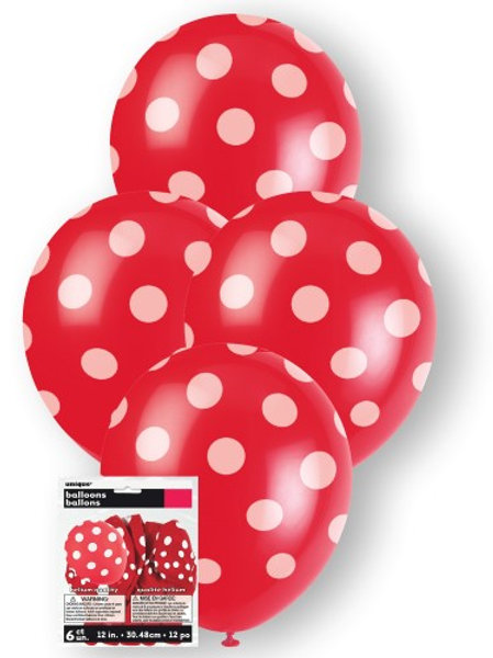 """DOTS RUBY RED 6 X 30cm (12"""") BALLOONS"""