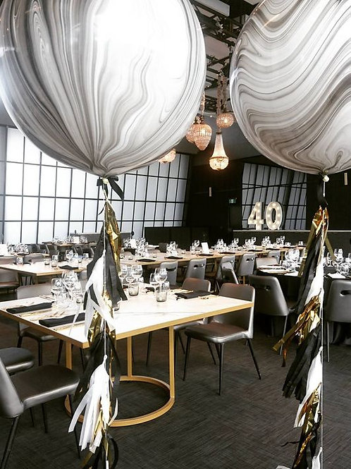 90cm Black and white and Marble Balloon