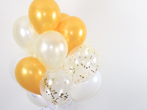 Bouquet(20Balloons)Gold & White Confetti Balloon Helium filled