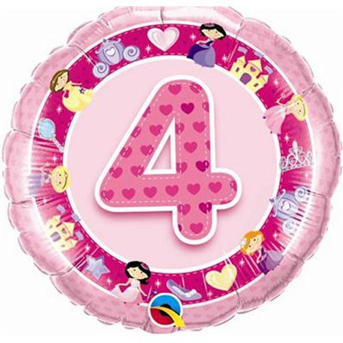 Qualatex Balloons Age 4 Pink/Blue Princess 45cm