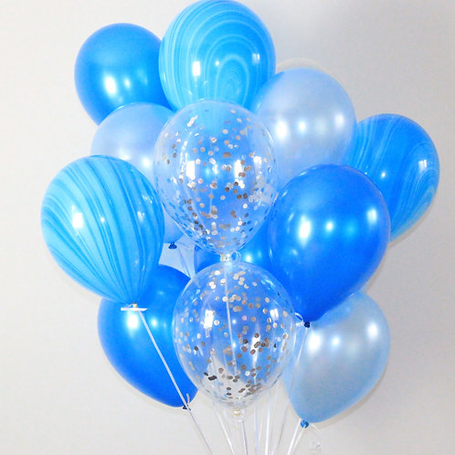Bouquet(20Balloons)Very Blue Bunch Confetti Balloon Helium filled