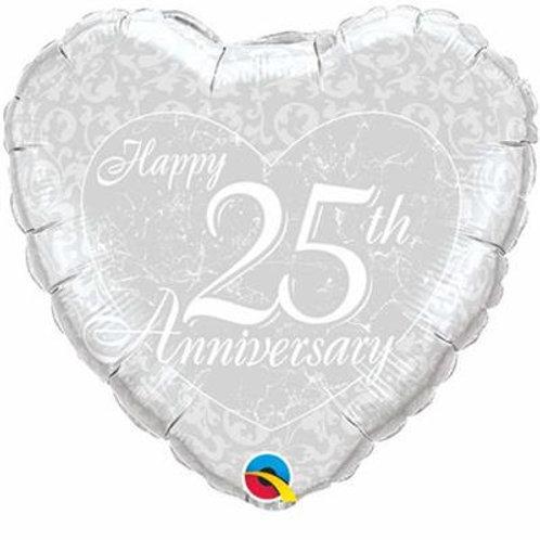 Qualatex Balloons Happy Anniversary Heart 25th 45cm
