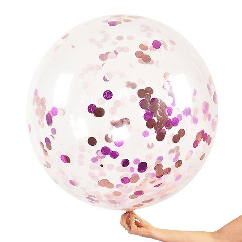 Jumbo Confetti Balloon Pink & Rose Gold (helium filled)