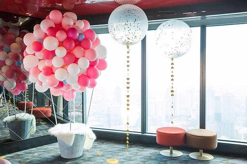 organic hot air balloon sculpture with basket.