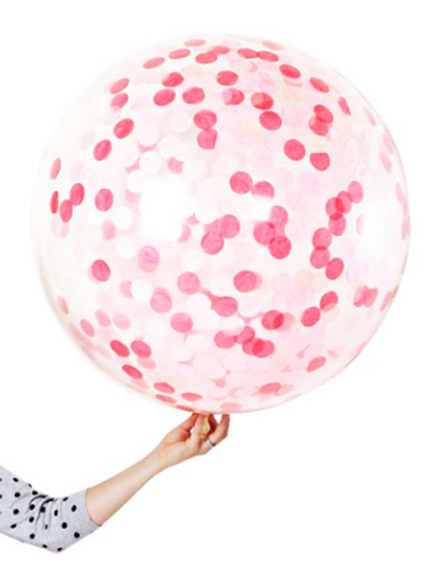 Giant 90cm 3ft Confetti Balloon -Pink (Helium filled)