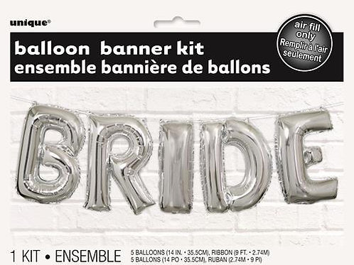 """BRIDE"" SILVER 35.5cm (14"") FOIL LETTER BALLOON KIT"