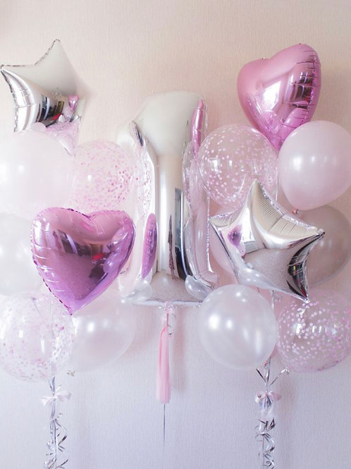 sweet sliver pink first birthday balloon set