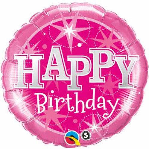 Qualatex Balloons Birthday Pink Sparkle 45cm