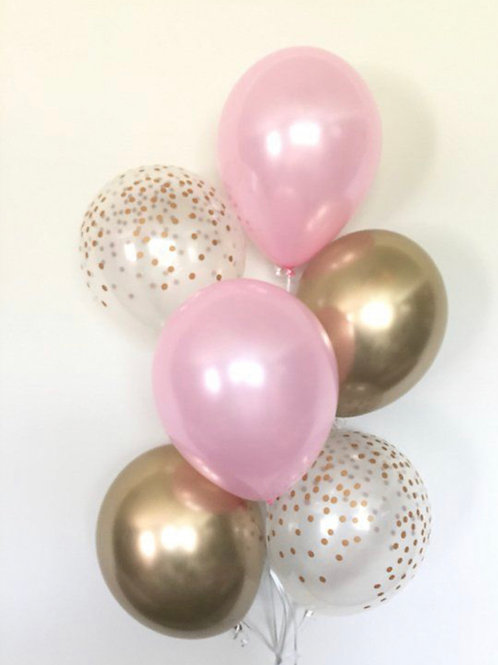Chrome gold pink bouquet of 6