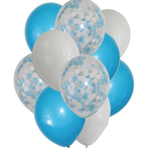 10 Balloons Bouquet Blue Confetti candy floss-bunch