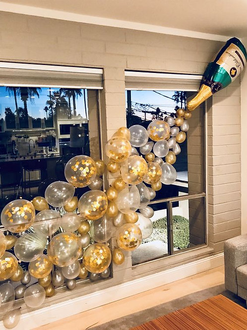 Champagne Bottle Balloon Wall Deco Set